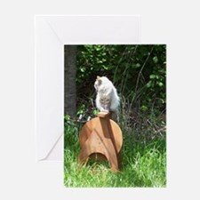 spinning wheel & cat Greeting Card