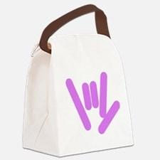 asl_hand_purple.png Canvas Lunch Bag
