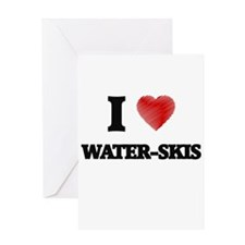 I love Water-Skis Greeting Cards