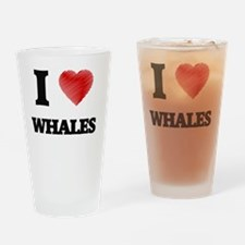 I love Whales Drinking Glass