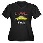 I Love Taxis Women's Plus Size V-Neck Dark T-Shirt