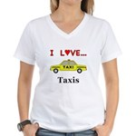 I Love Taxis Women's V-Neck T-Shirt