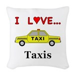 I Love Taxis Woven Throw Pillow