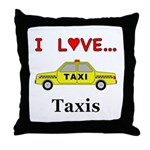 I Love Taxis Throw Pillow