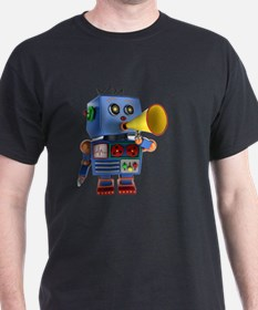 Blue toy robot with bullhorn T-Shirt