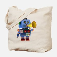 Blue toy robot with bullhorn Tote Bag