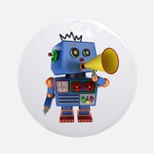 Blue toy robot with bullhorn Round Ornament