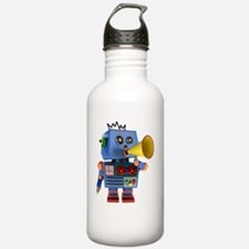 Blue toy robot with bu Water Bottle