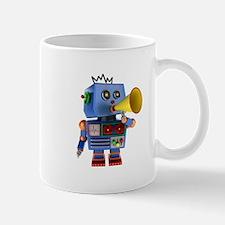Blue toy robot with bullhorn Mugs