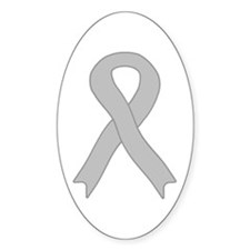 Gray Ribbon Oval Decal