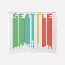 Vintage Seattle Cityscape Throw Blanket