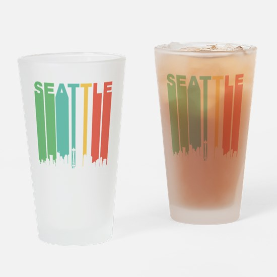Vintage Seattle Cityscape Drinking Glass