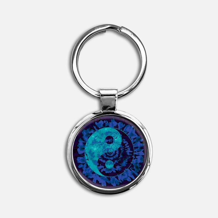 Purple Yin Yang Art Keychains