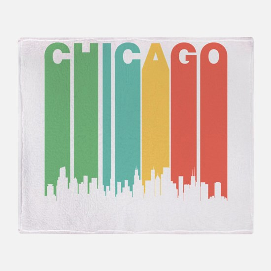 Vintage Chicago Cityscape Throw Blanket