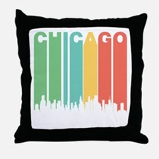 Vintage Chicago Cityscape Throw Pillow
