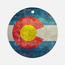 (B) Colorado State Flag Round Ornament