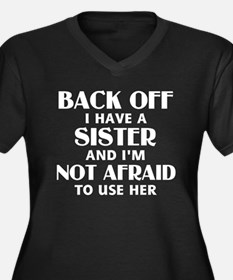 Back Off I H Women's Plus Size V-Neck Dark T-Shirt