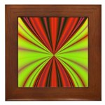Red Drapery Fractal Framed Tile