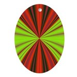 Red Drapery Fractal Oval Ornament