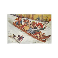 1890's Sledding Rectangle Magnet (10 pack)