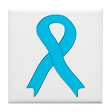 Light Blue Ribbon Tile Coaster