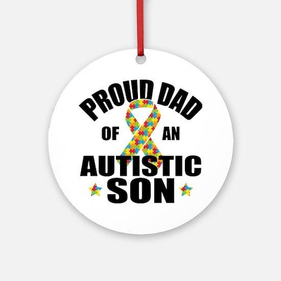 Autism Dad Round Ornament