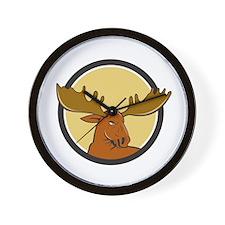 Moose Head Circle Cartoon Wall Clock