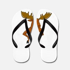 Moose Standing Hands Akimbo Cartoon Flip Flops