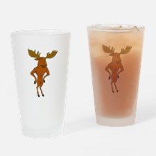 Moose Standing Hands Akimbo Cartoon Drinking Glass