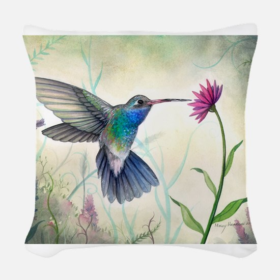 Sweet Nectar Hummingbird Woven Throw Pillow
