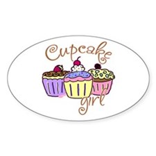 Cupcake Girl Oval Decal