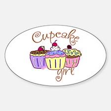 Cupcake Girl Oval Decal
