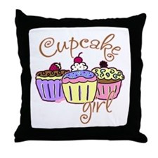 Cupcake Girl Throw Pillow