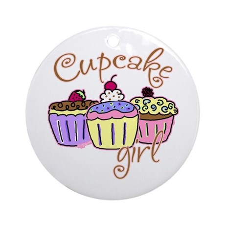 Cupcake Girl Ornament (Round)