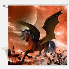 Wonderful dark unicorn Shower Curtain