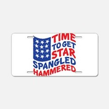 Star Spangled Hammered Aluminum License Plate