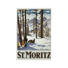 Switzerland Skiing Rectangle Magnet