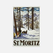 Switzerland Skiing Rectangle Magnet