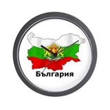 Bulgaria flag and map Wall Clocks
