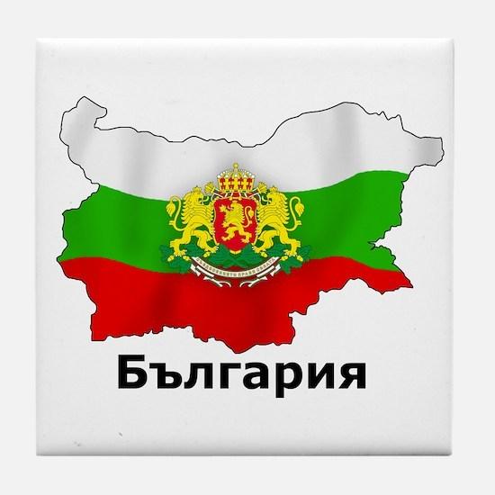 Bulgaria flag map Tile Coaster