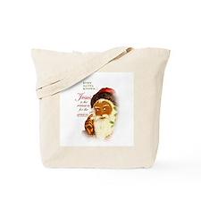 Even Santa Knows JESUS! Tote Bag - blk
