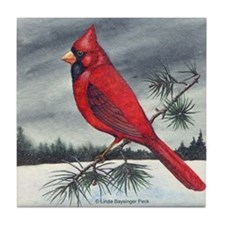 Cardinal on Pine Tile Coaster