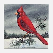 Cardinal on Pine Tile Coaster