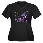 Witchy Hat Women's Plus Size V-Neck Dark T-Shirt