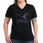 Witchy Hat Women's V-Neck Dark T-Shirt