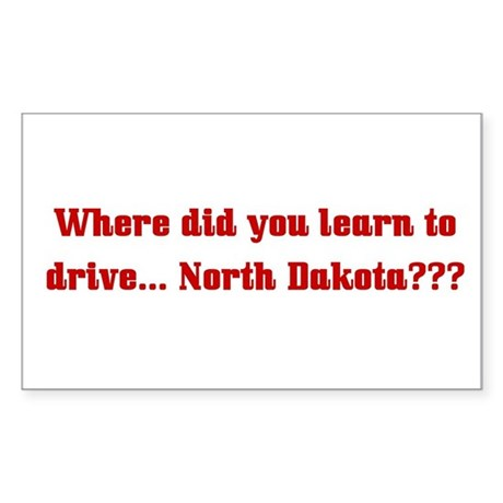 Drive North Dakota Rectangle Sticker
