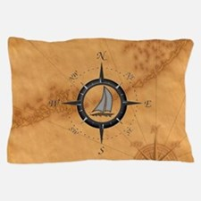Sailboat And Compass Rose Pillow Case