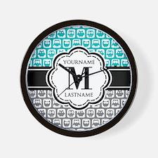 Custom Monogram, Teal and Gray Owl Wall Clock