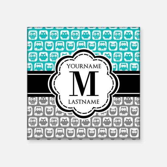 "Custom Monogram, Teal and G Square Sticker 3"" x 3"""