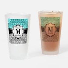 Custom Monogram, Teal and Gray Owl Drinking Glass